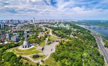 Aerial view of the Motherland Monument and Pechersk Lavra in Kiev, Ukraine