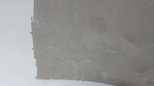 Peintre Est Lissage Mur Avant De Peindre Avec La Truelle, Écrémé En