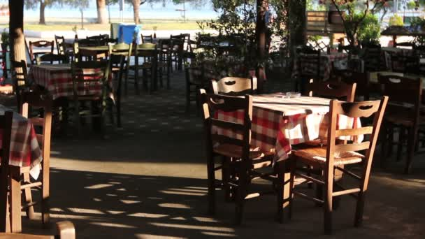 Early morning in outside traditional tavern restaurant