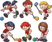 Floorball kids playing