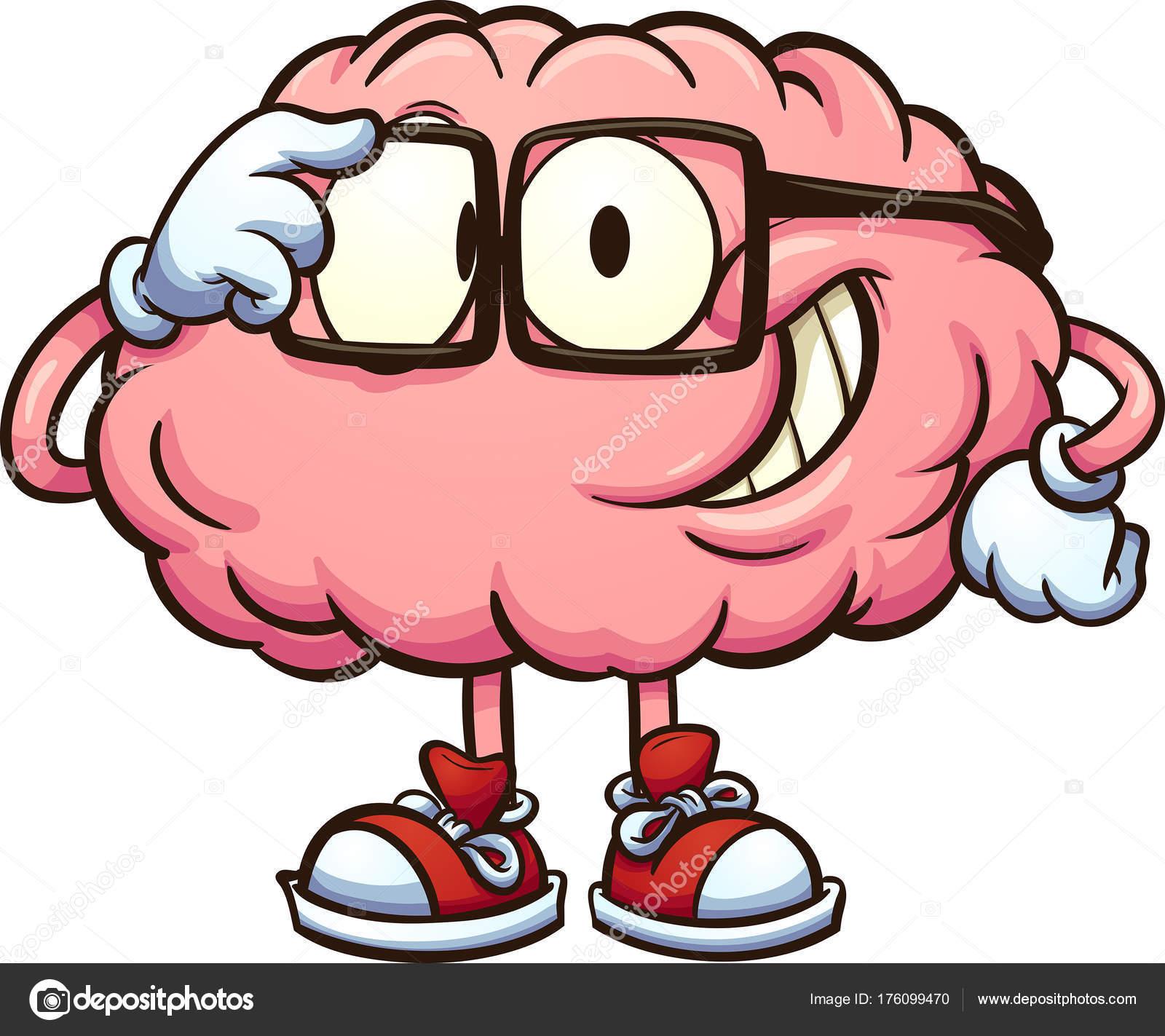 nerdy cartoon brain � stock vector 169 memoangeles 176099470