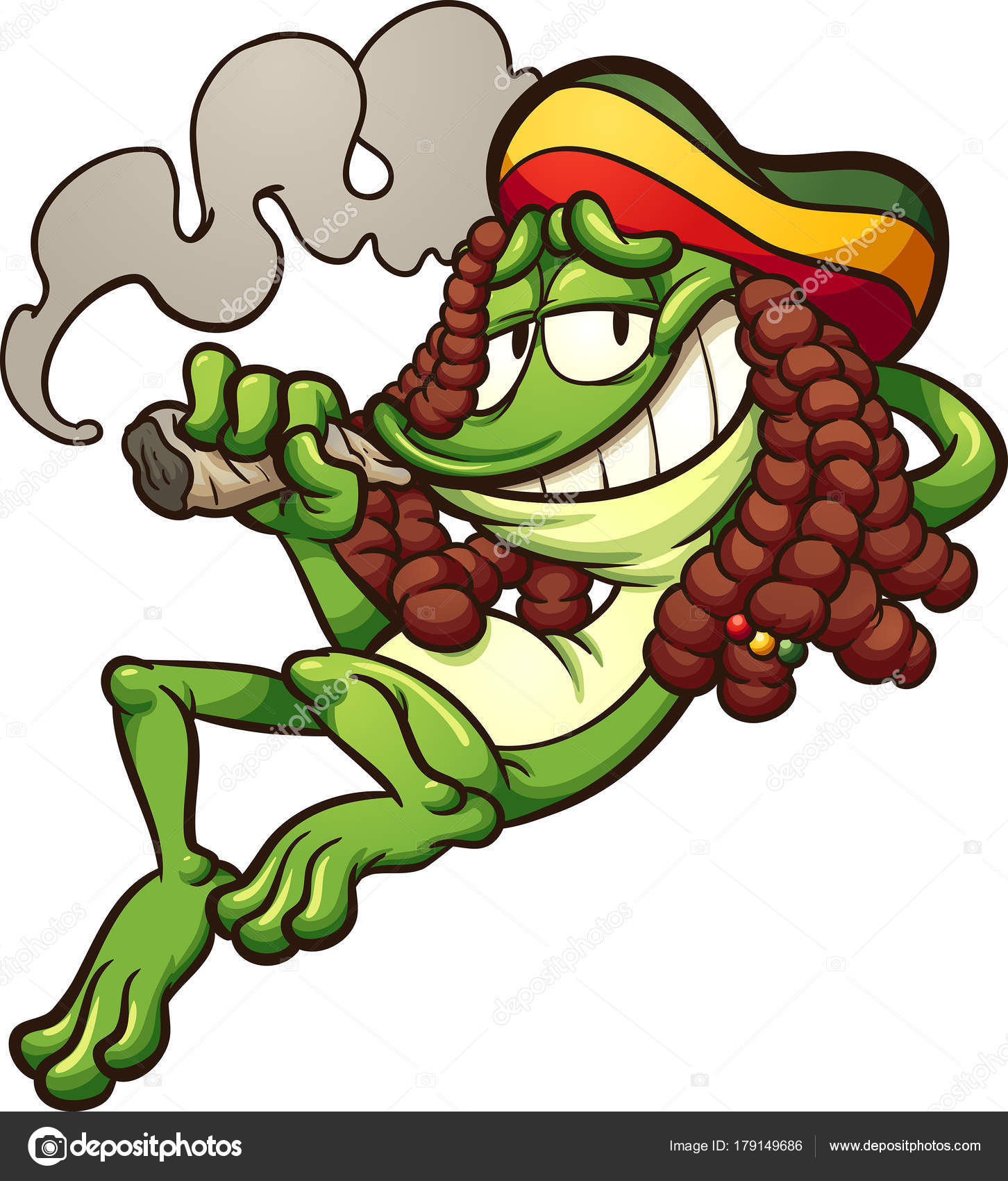 rasta frog smoking weed stock vector memoangeles 179149686