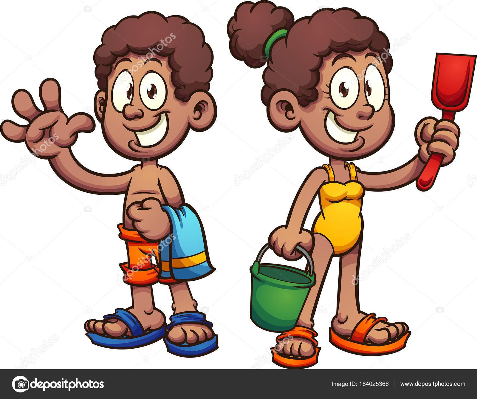 Bambini del fumetto nero con costumi da bagno vettoriali stock memoangeles 184025366 - Costumi da bagno stock ...