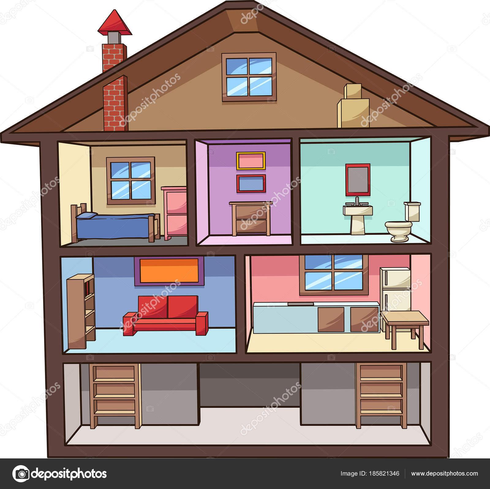 Cartoon-Haus-Interieur — Stockvektor © memoangeles #185821346