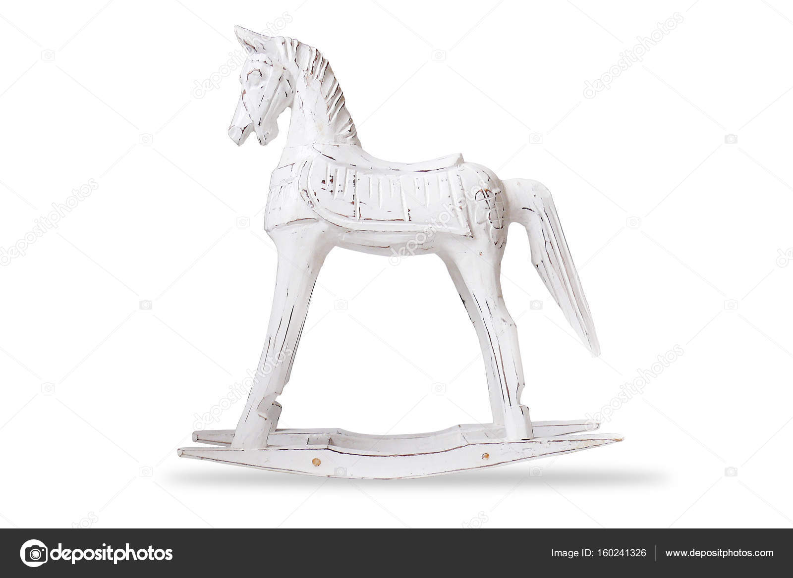 Home Decor Toy   Wooden Horse Rocking Chair   Isolated Object On White U2014  Stock Photo