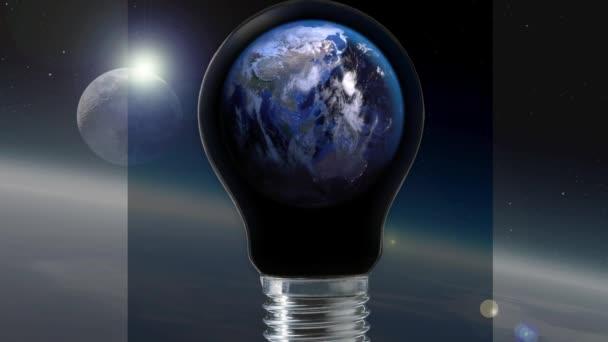 Erde Planet Kontinente Licht Birne