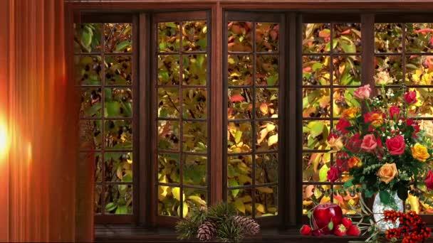 podzimní počasí květy okno