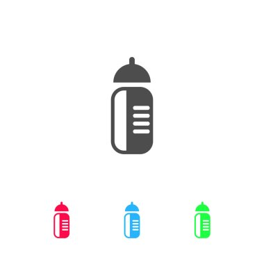 Sports water bottle icon flat. Color pictogram on white background. Vector illustration symbol and bonus icons