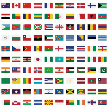 World Flag isolated Vector Illustration set every single flag you can easily edit