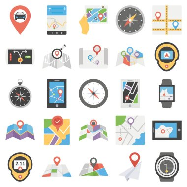 Map and navigation isolated vector icons set every single icon can be easily modified or edit