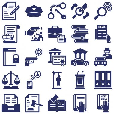 justice and Law Isolated Vector Icons set every single icon can easily modify or edit