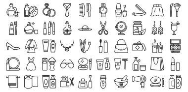 Beauty and Fashion Isolated Vector icons set every single icon can be easily modified or edited