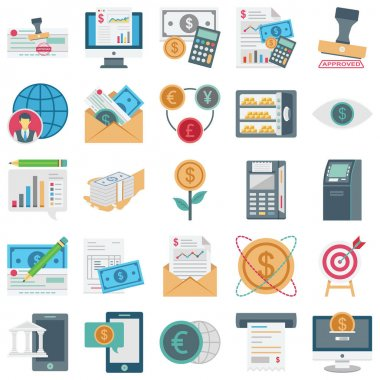 Finance, Payment and Banking color isolate Vector Icons Set every single icon can be easily modified or edited