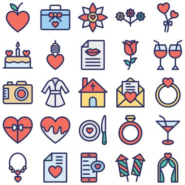 Valentine Day Isolated Vector icons set every single icon can be easily modified or edited