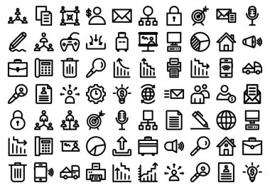 Project management Bold outline isolated vector icons set consist with management, Agreement, application, Businessman, dealer, Email, envelope, network hierarchy and video game, you can edit them easily