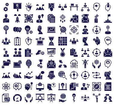 Project management vector icons set consist with cogwheel, brain, mountain, achievement, startup, work, creativity, innovation, flag and money icons every single icon can be easily modify or edited