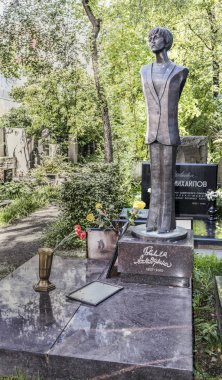 Novodevichy Cemetery. Grave of poetess Bella Akhmadulina