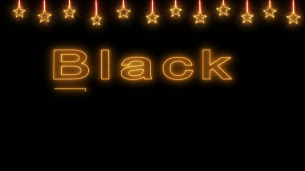 Neon sign on black Friday sale in gold letters on a background of stars