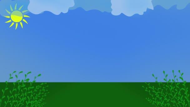 Háttér design napsütéses nap kék ég, zöld fű és mászó növények, a nap mozgásban