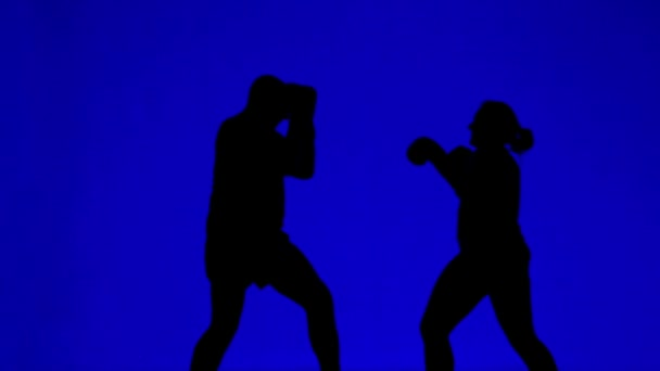 Silhouettes of man and woman in boxing gloves during a combat training