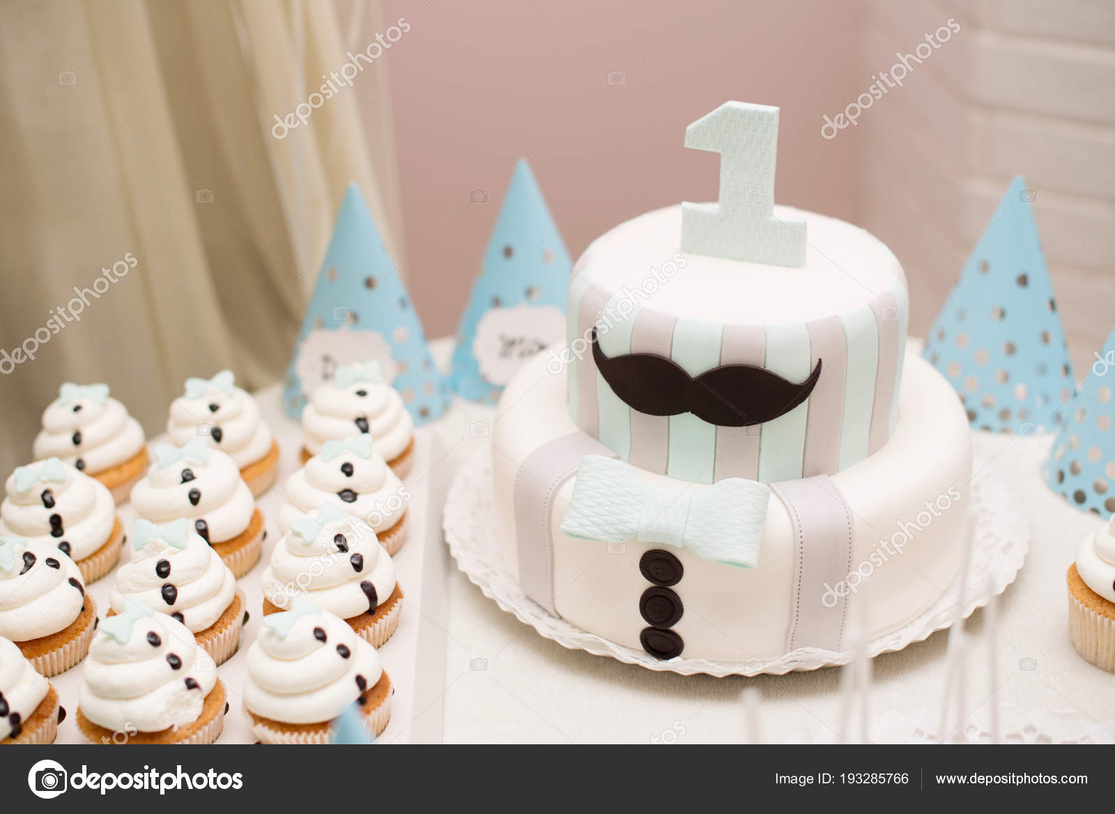 Birthday Cake On A Table First Party Stock Image
