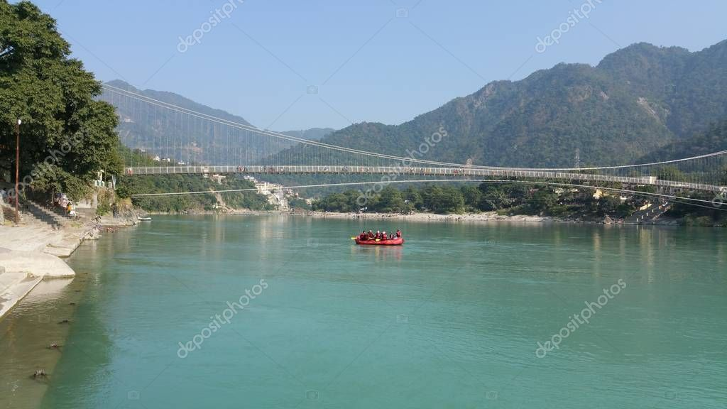scenic view of ganga river flowing throw rishikesh in India