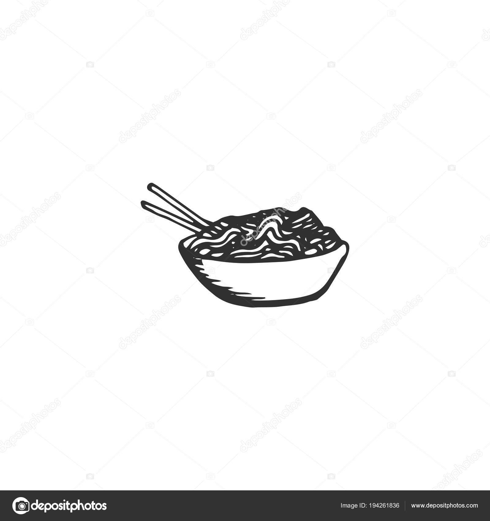 Plate Noodles Chopsticks Vector Draw Stock Vector C F Dor 194261836