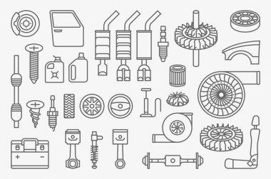 car parts vector icons set