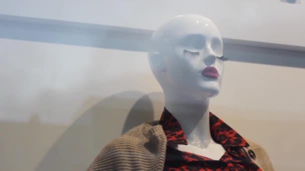 Schaufensterpuppe mit Wimpern in der Modeboutique shopping.closed eyes