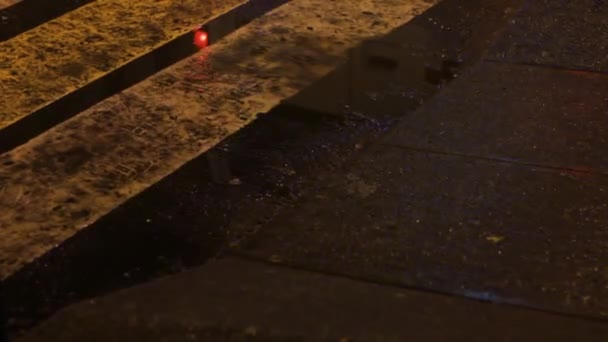 puddle at the crosswalk urban night emergency lights. wet surface reflection asphalt stone