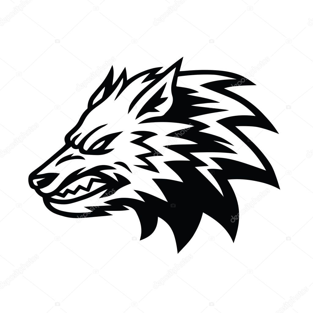 Angry Wolf Logo Design Template Vector Illustration