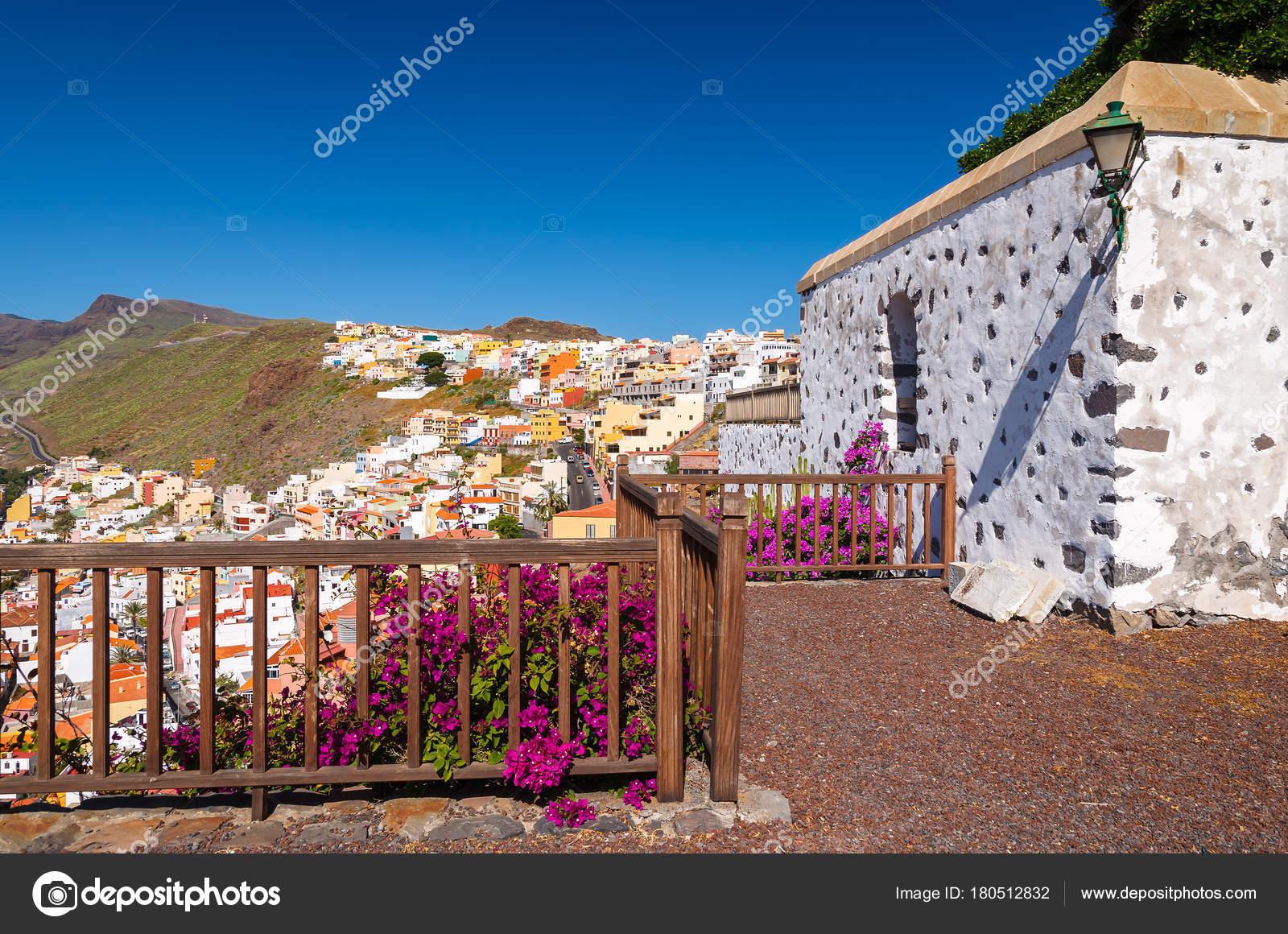 Traditional Canary Style White House Flowers Playa Santiago Gomera