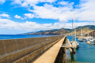 View of sailing port near Canical town on coast of Madeira island, Portugal