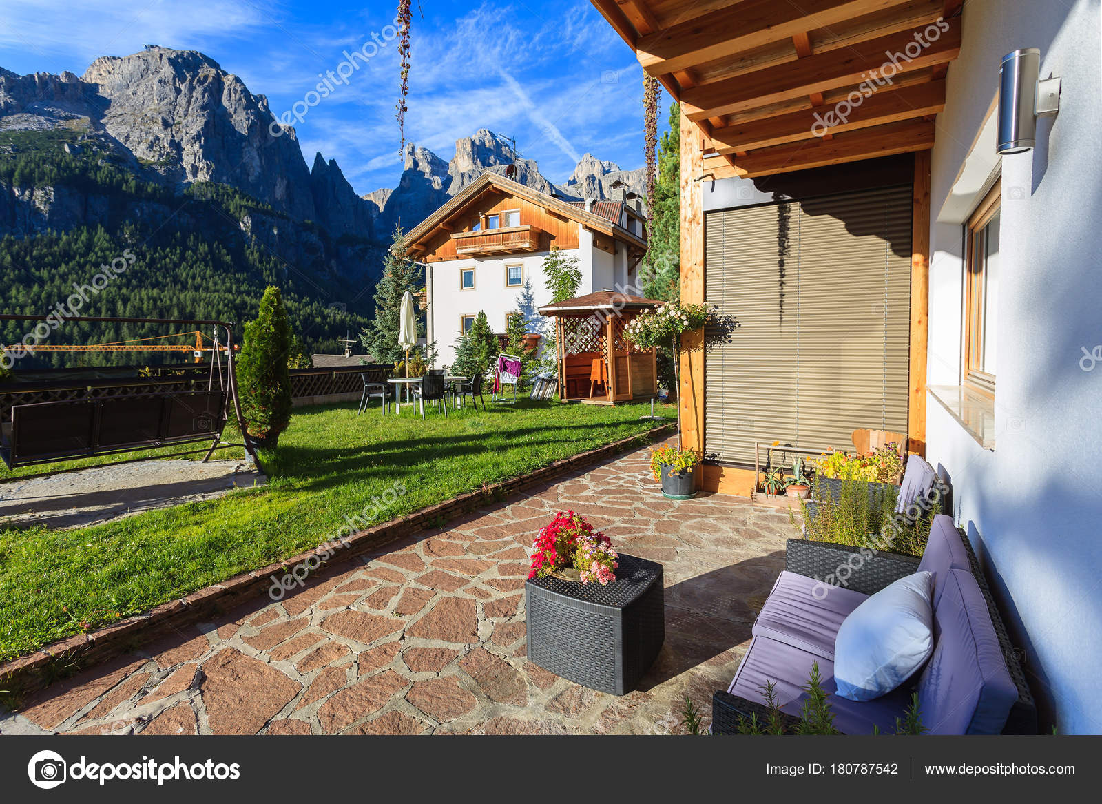 Colfosco Dolomites Italy Sep 2013 Couch Coffee Table Sunny Patio