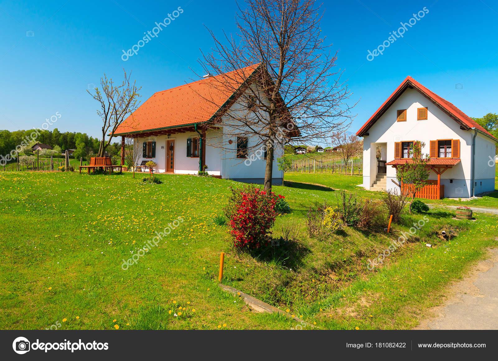 Tradicionales casas campo verde paisaje rural primavera - Casas rurales de madera ...