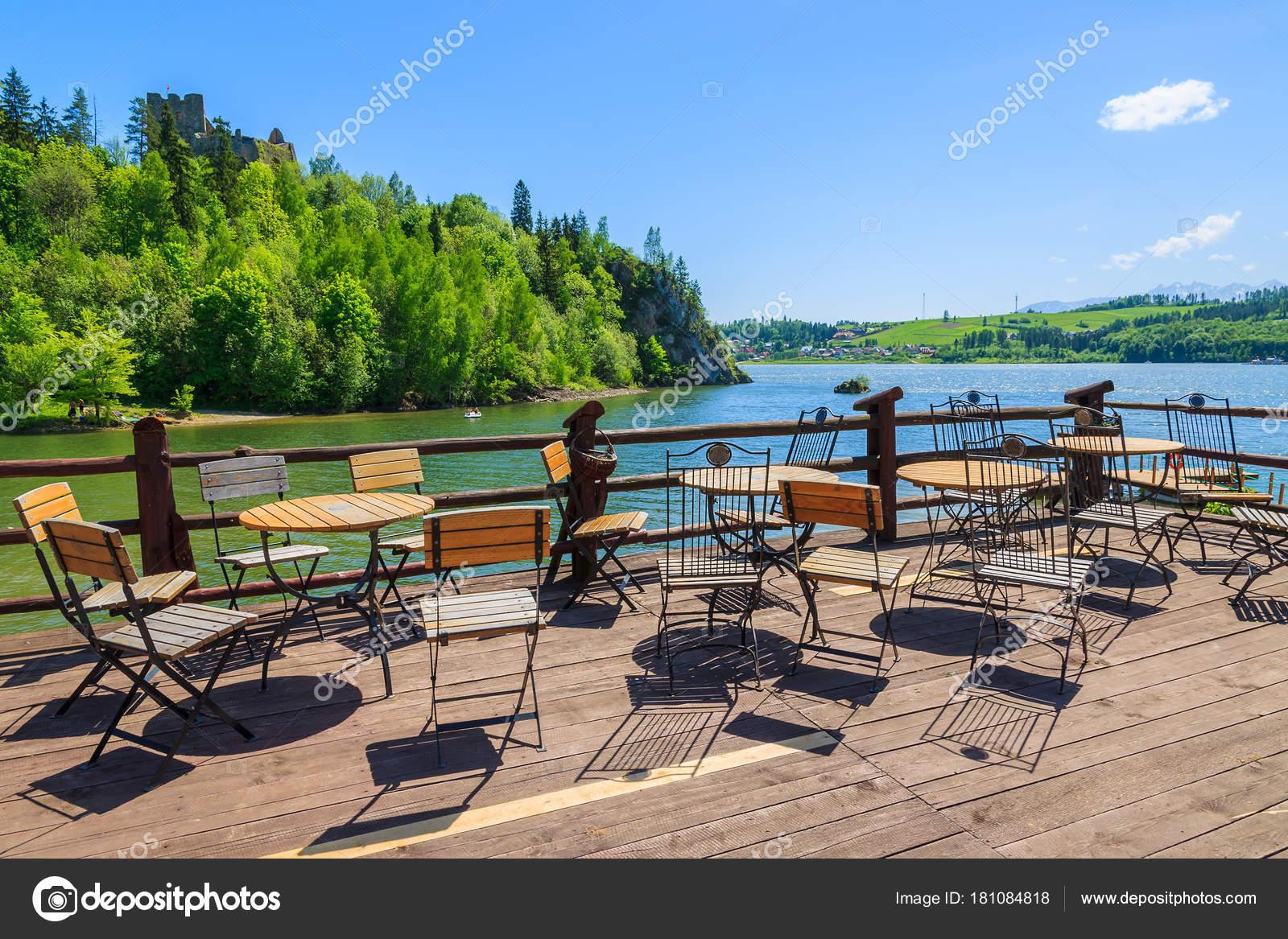 Sillas Con Mesas Terraza Madera Restaurante Lago Costa