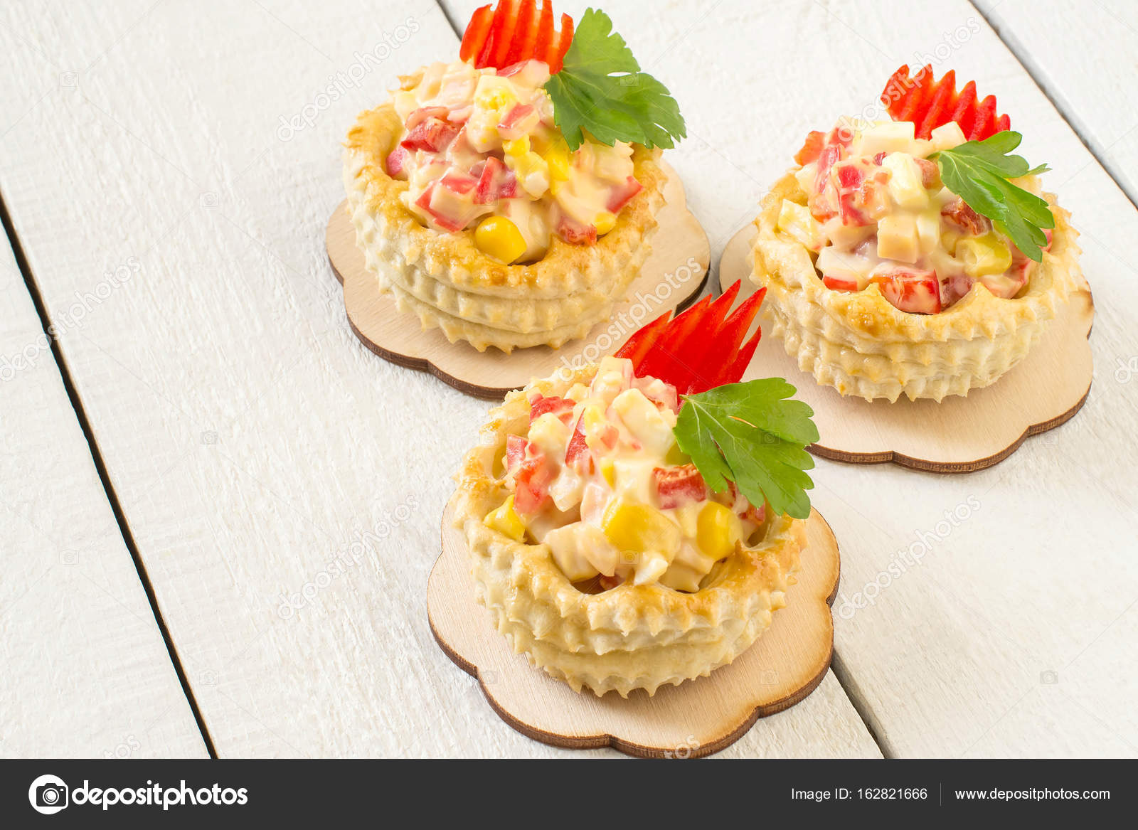 Festive Appetizer Vol Au Vent With Chicken Salad Sweet Pepper
