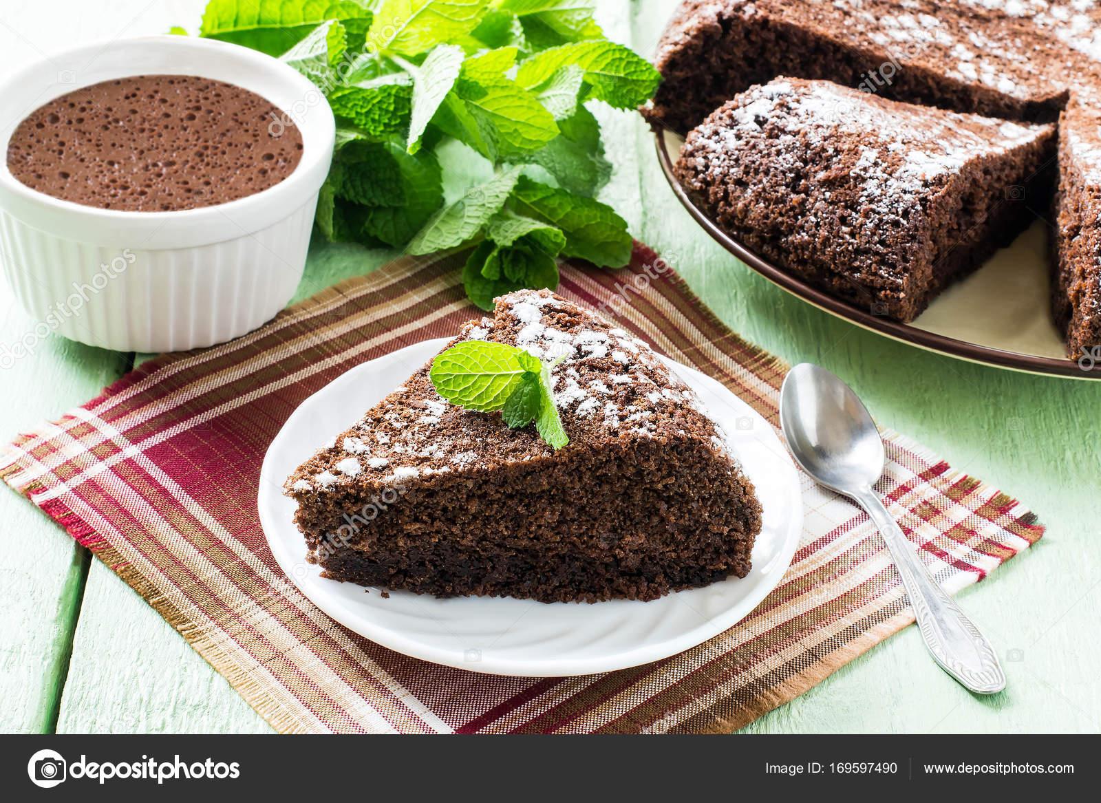 Hausgemachte Schokolade Kuchen Schokoladen Nachtisch Und Minze