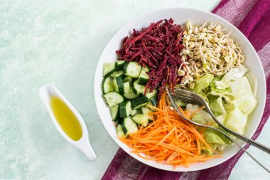 Vegetarian lunch bowl with sprouted mung beans and fresh vegetab