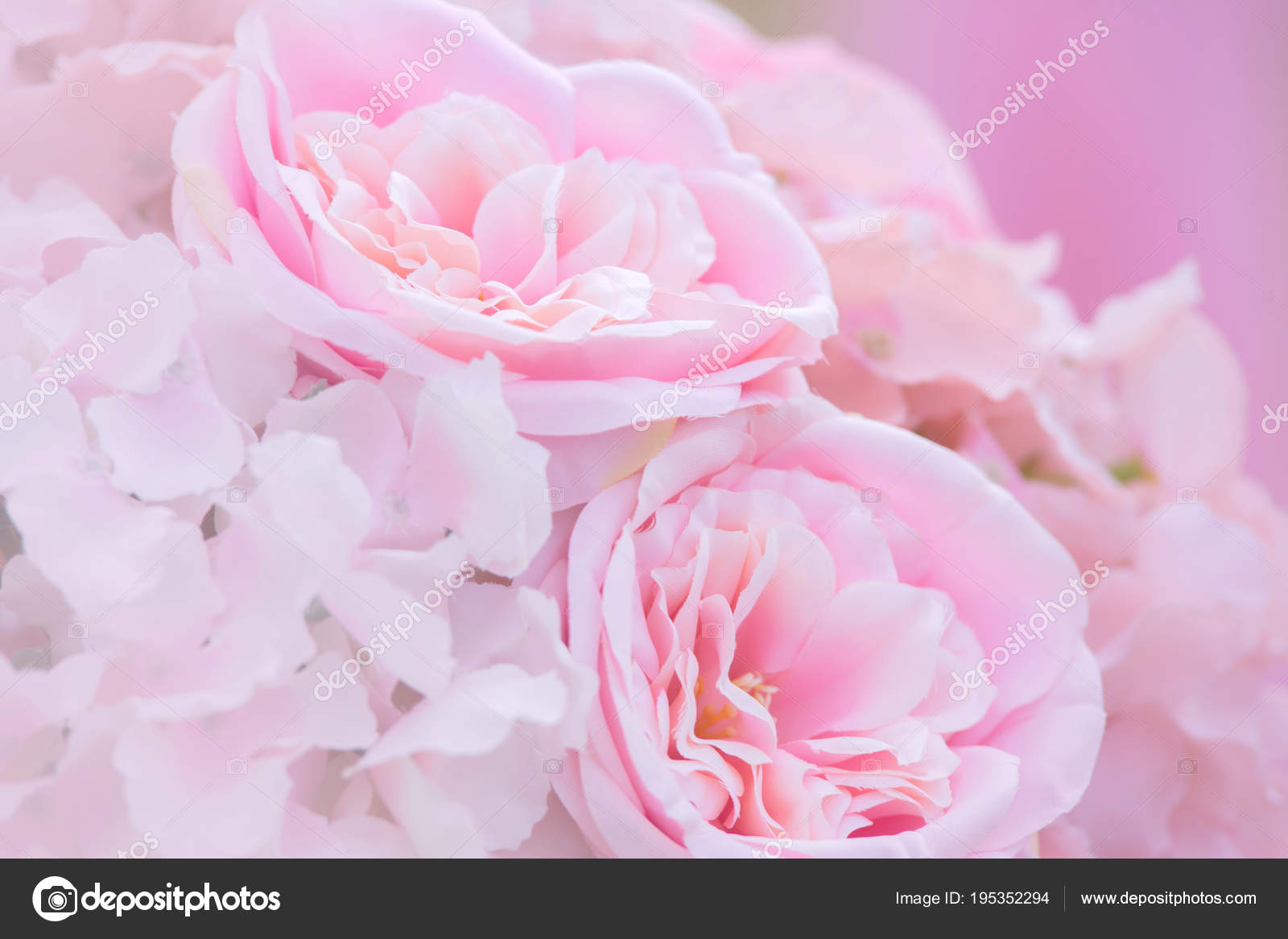 Pink Fake Flowers In Soft Style For Background Texture Stock