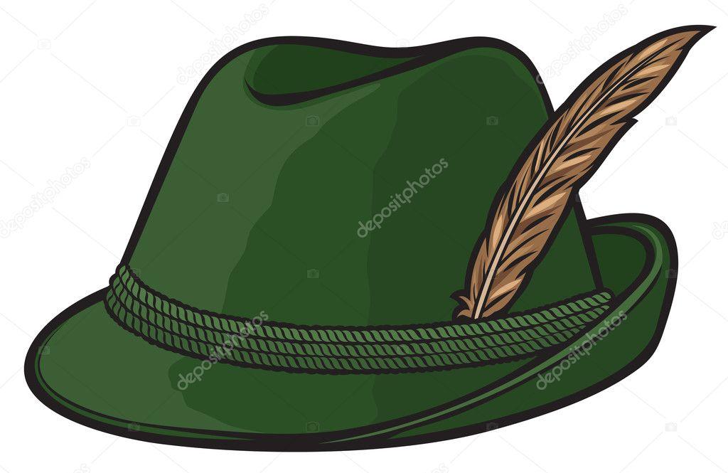 cc5f3e0a13cee Sombrero de caza alemán con pluma y cuerda. Ilustración de vector -  imágenes  sombrero aleman con plumas — Vector de ...