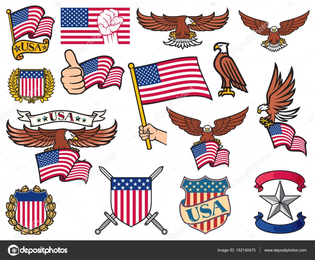 USA symbols (flying eagle holding flag, coat of arms design