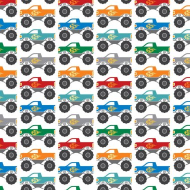 Background pattern with monster trucks