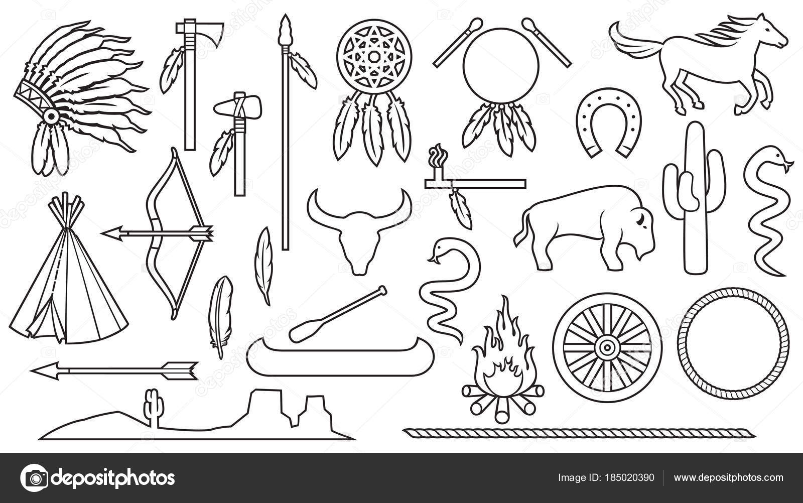 Native American Indians Thin Line Icons Set Bow Arrow Snake ...