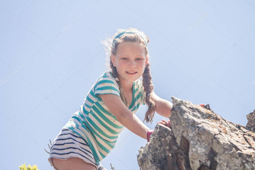outdoor portrait of young caucasian child girl