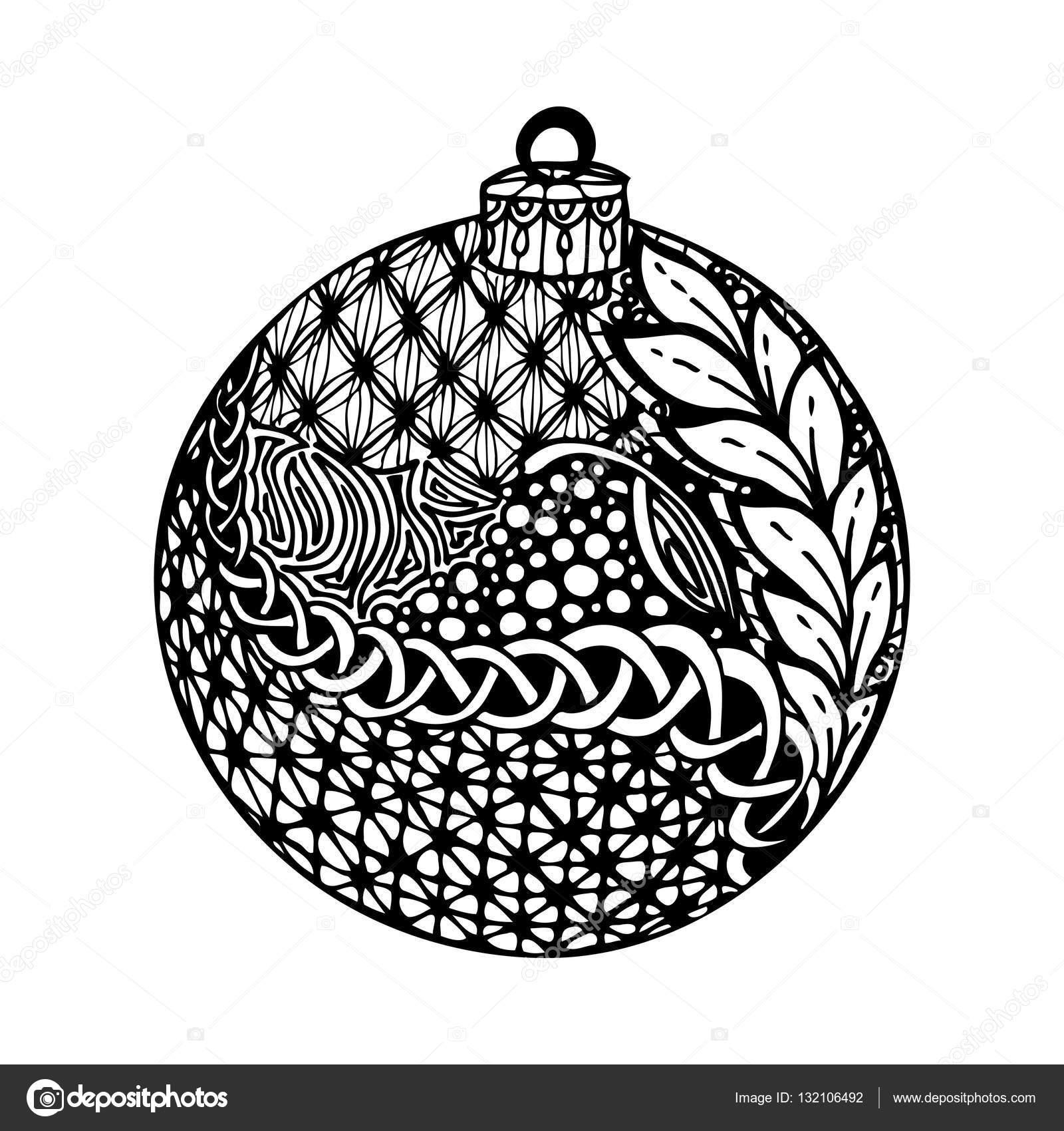 Boule De Noël Noir Et Blanc Dessinées à La Main Image