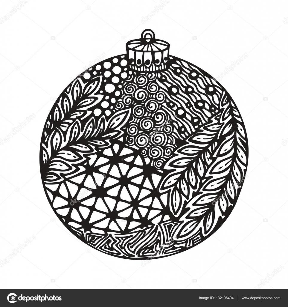 Extraordinaire Boule de Noël noir et blanc, dessinées à la main. — Image PY-46