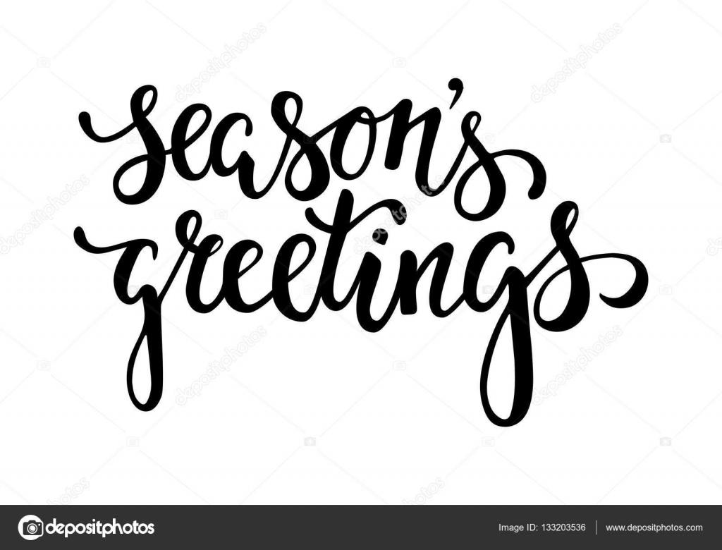 Season\'s Greetings. Hand drawn creative calligraphy and brush pen ...
