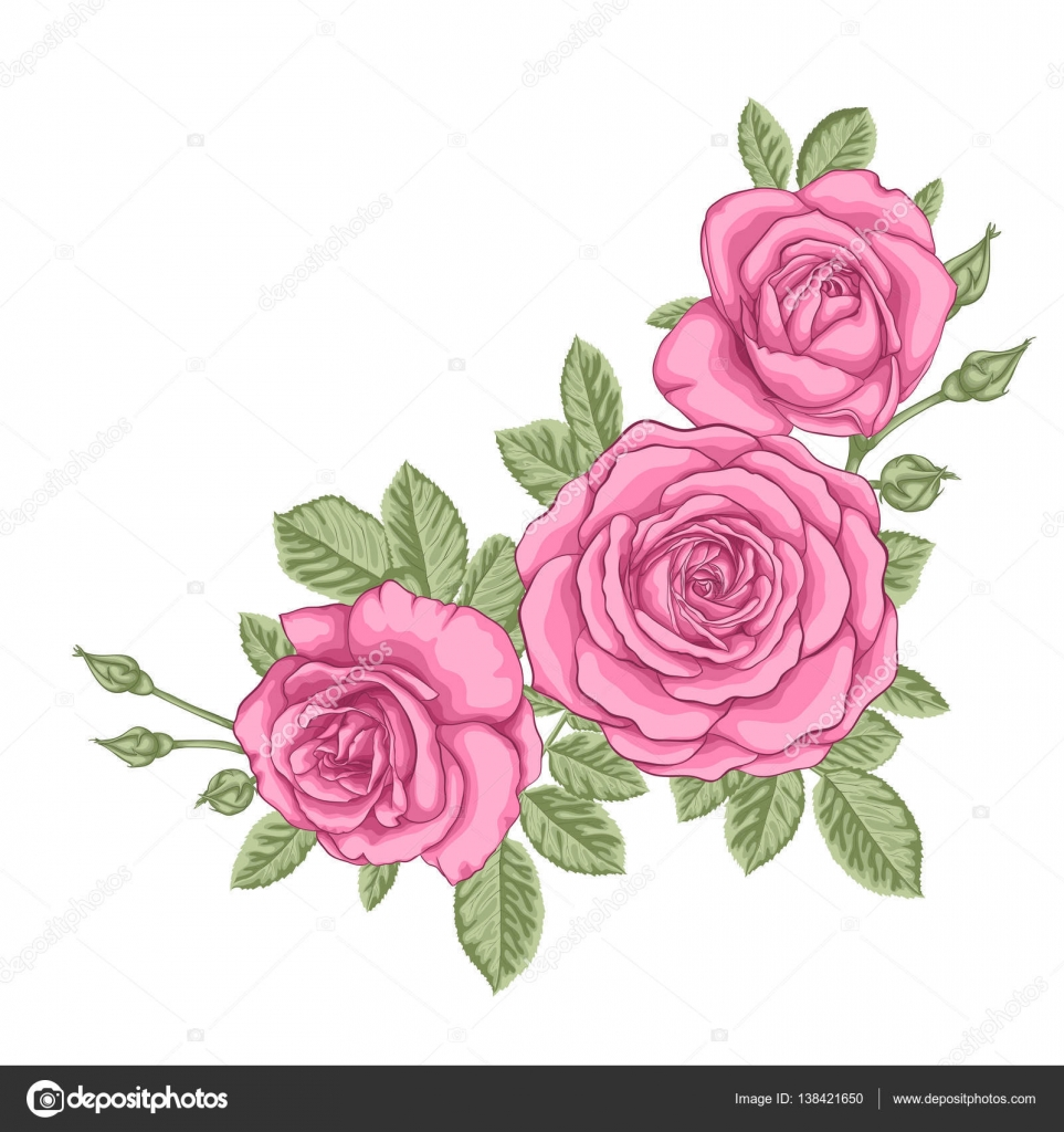 Beautiful Bouquet With Three Pink Roses And Leaves Floral