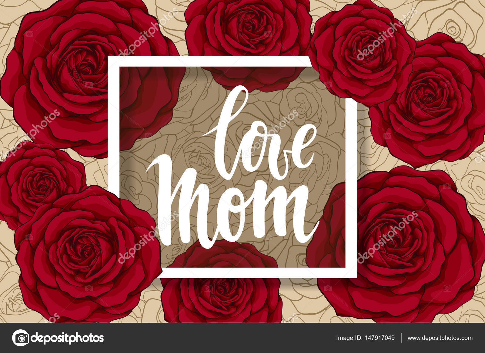Maman D Amour Stylo Pinceau Dessine De Main Lettrage Roses Rouges